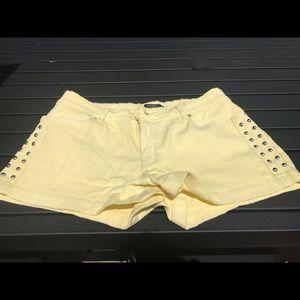 F21 Yellow Studded Shorts